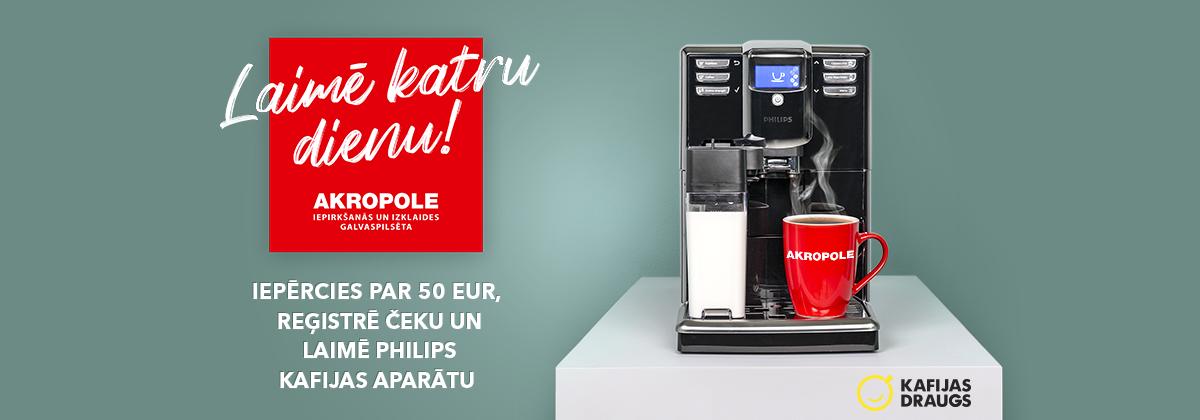 Iepērcies droši un katru dienu laimē Philips kafijas automātu